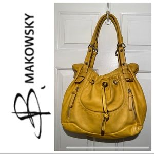B. Makowsky Yellow Mustard Leather Hobo